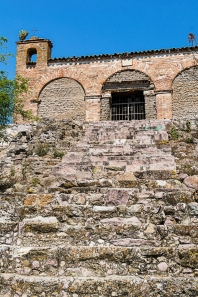 Spanish chapel built on pre-Spanish platform.Mitla